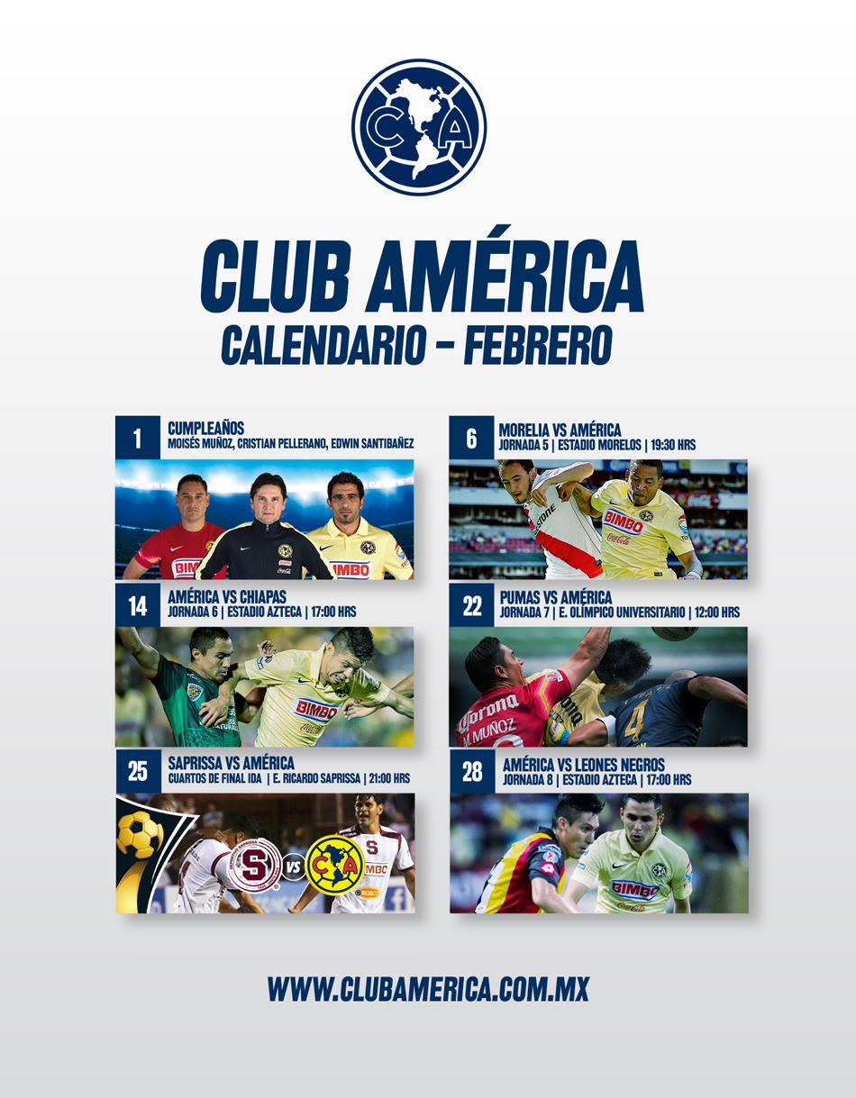 Calendario Americanista mes de febrero 2015 - Club América - Sitio ...