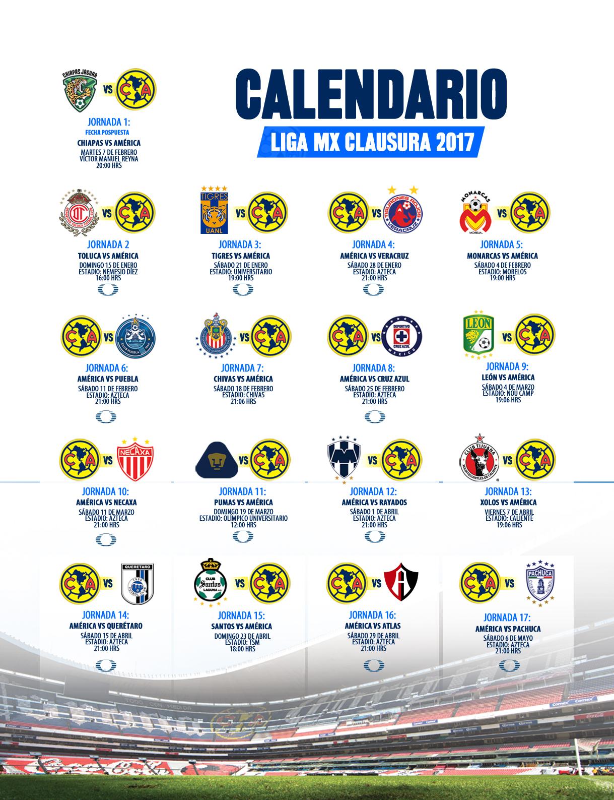 Calendario Clausura 2017