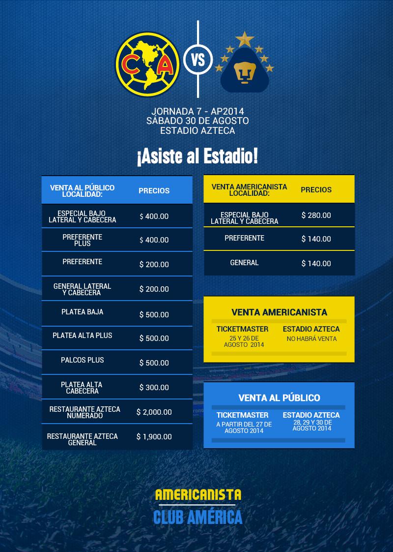 63b81f19f Precios de los boletos América vs Pumas UNAM * Club América -